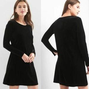 NWT Gap Velvet Black Swing Dress Slits at Cuffs L